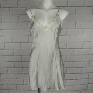 Vintage Victoria's Secret silk silver lace chemise